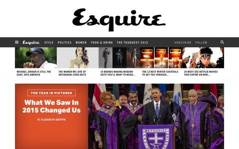 Screenshot of Home Page esquire.com - Esquire - Men's Fashion, Cocktails, Politics, Interviews, and Women - captured Jan. 3, 2016