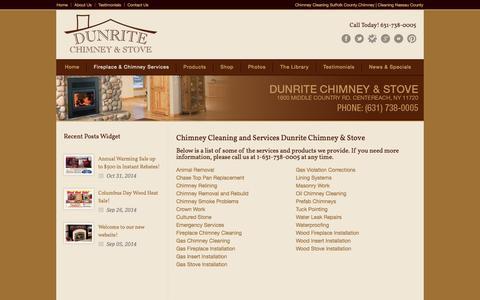 Screenshot of Services Page dunritechimney.com - Dunrite Chimney Cleaning and Installation, Wood Burning Stoves, Fireplaces, Pellet Stoves Long Island - captured Nov. 3, 2014