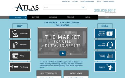 Screenshot of Home Page atlasresell.com - Atlas Resell Management | The market for used dental equipment. - captured Oct. 9, 2017