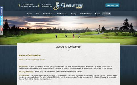 Screenshot of Hours Page glendenninggolf.ca - Hours of Operation | GlenDenning Golf - St Johns, NL - captured Jan. 26, 2017