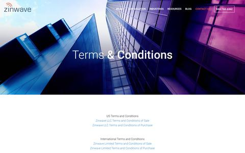 Screenshot of Terms Page zinwave.com - Terms and Conditions | Zinwave - captured July 13, 2018