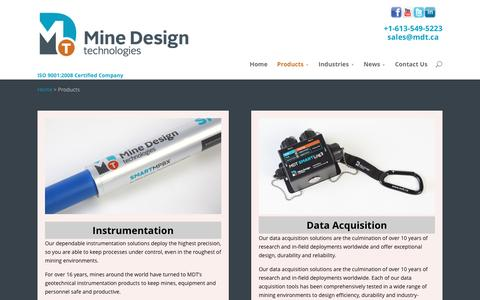 Screenshot of Products Page mdt.ca - Products | Mine Design Technologies - captured Nov. 29, 2016