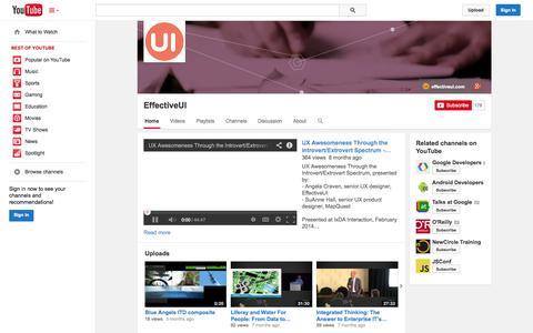 Screenshot of YouTube Page youtube.com - EffectiveUI  - YouTube - captured Oct. 22, 2014