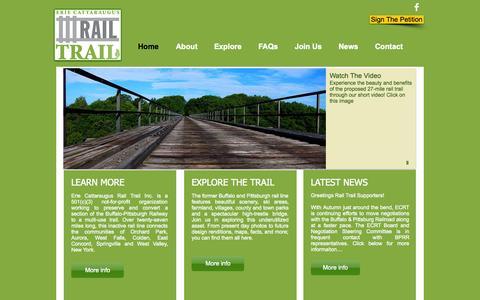 Screenshot of Home Page ecattrail.org - Erie Cattaraugus Rail Trail - captured Oct. 2, 2014