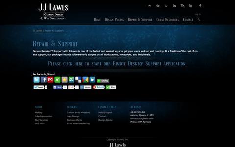 Screenshot of Support Page jjlawls.com - JJ Lawls – Repair & Support - captured Sept. 30, 2014