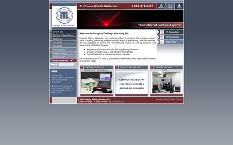 Screenshot of Home Page itlinc.com - ITL Materials Testing Laboratory - Your material solutions experts - captured Sept. 19, 2014