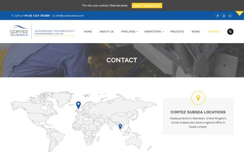 Screenshot of Contact Page cortezsubsea.com - Contact | Cortez Subsea | Subsea Inspection & Pipelay - Aberdeen & Asia - captured July 22, 2018