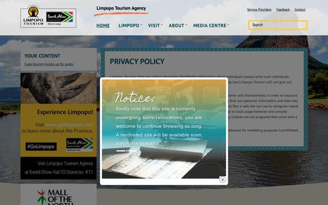 Screenshot of Privacy Page golimpopo.com - Privacy Policy | Limpopo Tourism Agency - captured May 23, 2018