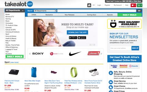 Screenshot of Home Page takealot.com - takealot.com: SA's greatest online shopping store: Widest range - captured Sept. 17, 2014