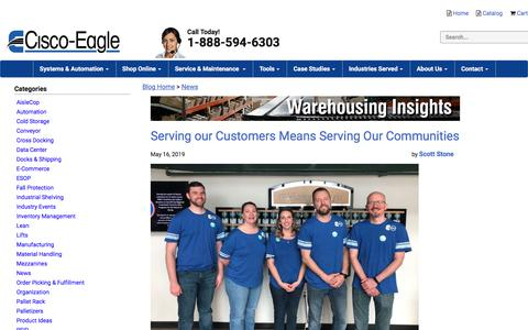 Screenshot of Press Page cisco-eagle.com - News | Warehousing Insights | Material Handling Systems - captured June 27, 2019
