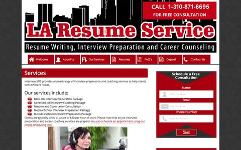Screenshot of Services Page laresumeservice.com - Services - Interview SOS - captured Feb. 1, 2016