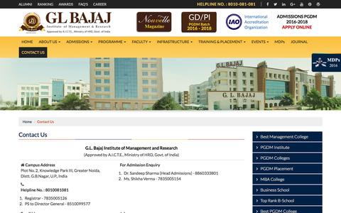 Screenshot of Contact Page glbimr.org - Contact GL Bajaj Institute of Management & Research  Knowledge Park III, Greater Noida, Distt. G.B.Nagar, U.P., India - captured Oct. 1, 2016