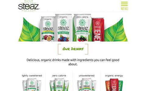 Screenshot of Products Page steaz.com - Organic Iced Green Tea Beverages | STEAZ - captured Feb. 16, 2016