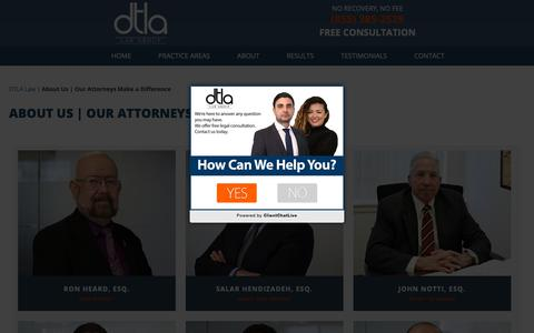 Screenshot of About Page downtownlalaw.com - About Us | Our Attorneys Make a Difference - DTLA Law Group - captured Sept. 27, 2018