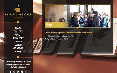 Screenshot of Press Page ballsquarecafe.com - Press | Ball Square Cafe - captured Dec. 29, 2015