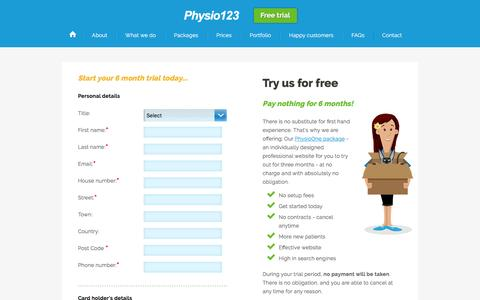 Screenshot of Trial Page physio123.com - Order: PhysioOne - Physio123 - captured Dec. 31, 2016