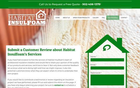 Screenshot of Testimonials Page habitatinsulfoam.ca - Customer Review | Testimonials | Habitat Insulfoam - captured May 13, 2017