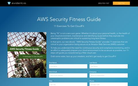 Screenshot of Landing Page evident.io - AWS Security Fitness Guide: 11 Exercises To Get Cloud-fit - eBook - captured Sept. 7, 2017
