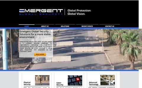 Screenshot of Home Page emergentglobalsecurity.com - Emergent Global Security | Global Protection. Global Vision. - captured Sept. 29, 2014
