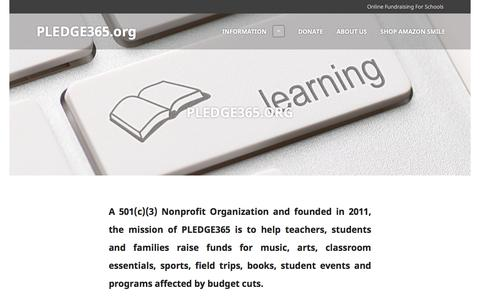 Screenshot of Home Page pledge365.org - PLEDGE365.org | Online Fundraising For Schools - captured Jan. 26, 2016