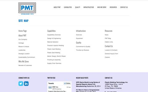 Screenshot of Site Map Page pmtinc.com - Site Map  | Plastic Molding Technology, Inc. – One of the Best Plastic Injection Molding Companies in Texas - captured Oct. 2, 2014