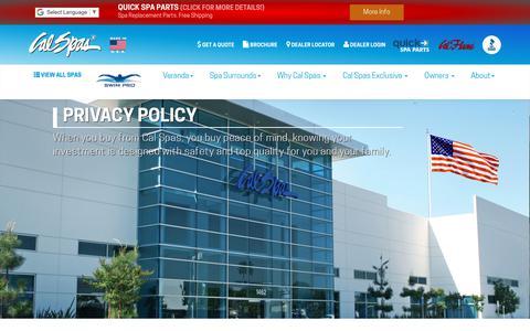 Screenshot of Privacy Page calspas.com - Privacy Policy at Calspas.com - captured June 24, 2018