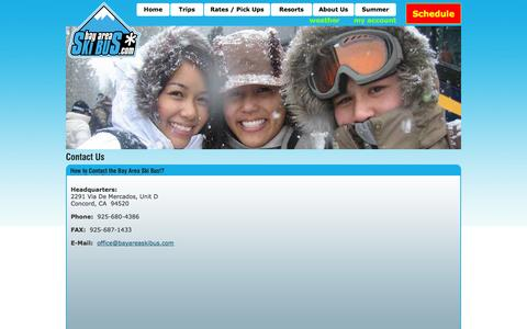 Screenshot of Contact Page bayareaskibus.com - Bay Area Ski Bus | About Us | Contact the Bay Area Ski Bus - captured Sept. 30, 2014