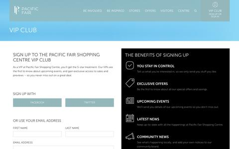 Screenshot of Signup Page pacificfair.com.au - Sign up - Pacific Fair Shopping Centre - captured April 8, 2017
