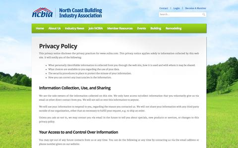 Screenshot of Privacy Page ncbia.com - NCBIA – North Coast Building Industry Association » Privacy Policy - captured Oct. 26, 2014