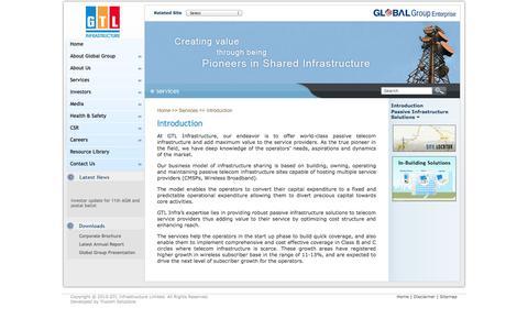 Screenshot of Services Page gtlinfra.com - GTL Infrastructure Limited - Services - captured Nov. 3, 2014