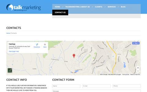 Screenshot of Contact Page talkmarketing.co.uk - Contacts   TalkMarketing - captured Feb. 23, 2016