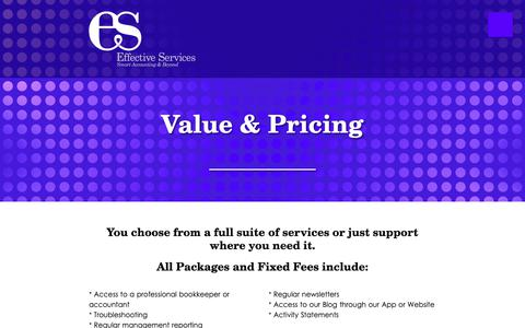 Screenshot of Pricing Page effectiveservices.com.au - Value & Pricing - Effective Services - captured Sept. 27, 2018