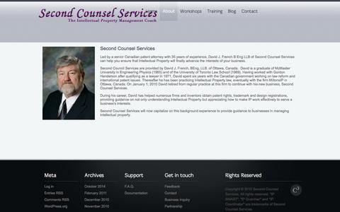 Screenshot of About Page secondcounsel.com - Second Counsel Services |   About - captured Oct. 6, 2014