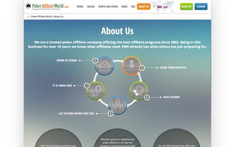 Screenshot of About Page pokeraffiliateworld.com - About PAW - Poker Affiliate World | PokerAffiliateWorld.com - captured Sept. 18, 2014