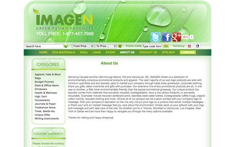 Screenshot of About Page imagengreen.com - Imagen Green Eco-Friendly Promotional Products - captured Sept. 30, 2014