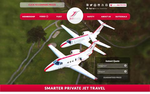 Screenshot of Home Page jetsuite.com - JetSuite | Private Jet Charter Flights – Private Jet Rental Service - captured Sept. 20, 2015