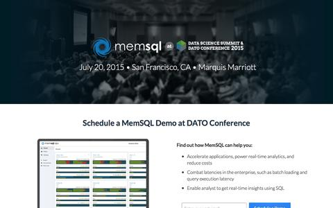 Screenshot of Landing Page memsql.com - MemSQL at DATO Data Science Conference - captured Oct. 14, 2016