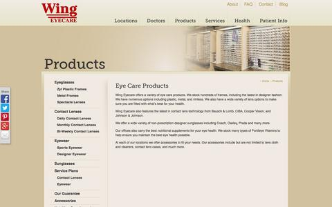 Screenshot of Products Page wingeyecare.com - Wing Eyecare | Eyeglasses/Sunglasses, Contact Lenses, & Accessories - captured Oct. 1, 2014