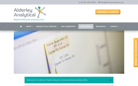 Screenshot of Case Studies Page alderleyanalytical.com - CASE STUDIES - Alderley Analytical - captured July 29, 2018