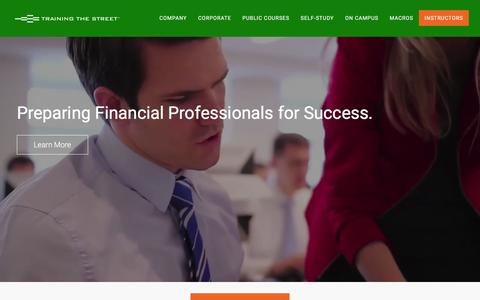 Screenshot of Home Page trainingthestreet.com - Financial Training Professionals, Investment Banking Training, Financial Modeling Training New York - Training The Street - captured Jan. 20, 2016