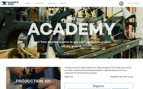 Screenshot of makersrow.com - The Academy | Maker's Row - Factory Sourcing Made Easy - captured March 19, 2016