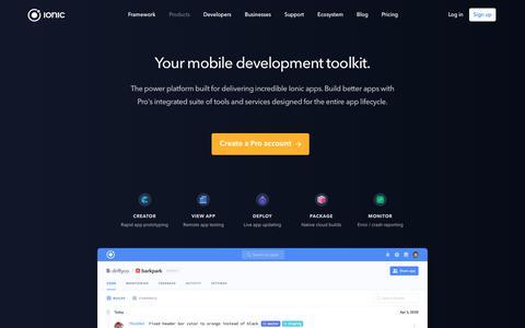 Screenshot of Products Page ionicframework.com - Ionic Framework - Ionic Pro - captured Dec. 23, 2017