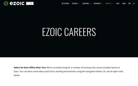Screenshot of Jobs Page ezoic.com - Careers | Ezoic Platform - captured Jan. 18, 2020