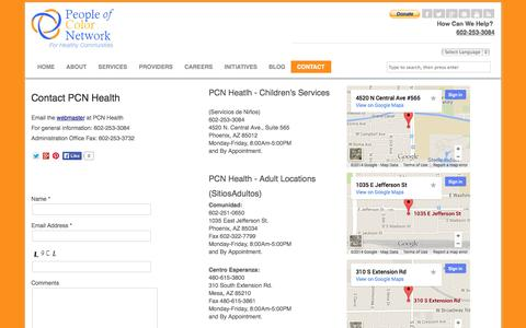 Screenshot of Contact Page Locations Page pcnhealth.com - Contact PCN Health | People of Color Network - captured Oct. 22, 2014