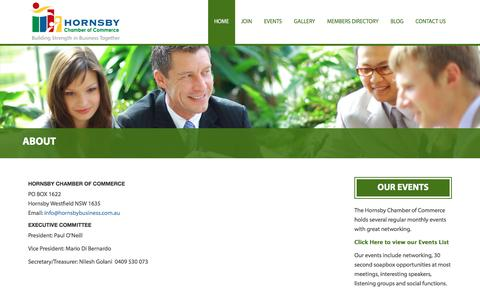 Screenshot of About Page hornsbybusiness.com.au - About - Hornsby Chamber of CommerceHornsby Chamber of Commerce - captured Nov. 12, 2016