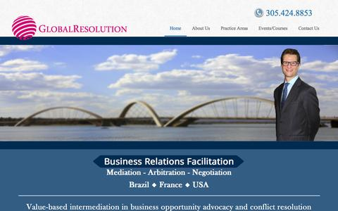 Screenshot of Home Page global-resolution.com - Business & Commercial Mediation and Arbitration, Global Resolution - captured Sept. 30, 2014