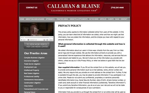 Screenshot of Privacy Page callahan-law.com - Privacy Policy | Callahan & Blaine | Santa Ana California - captured Oct. 1, 2014