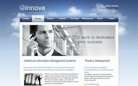 Screenshot of Services Page innova4health.com - Services - Innova - captured Oct. 6, 2014