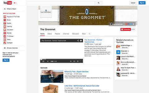 Screenshot of YouTube Page youtube.com - The Grommet  - YouTube - captured Oct. 22, 2014