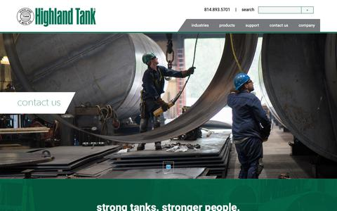 Screenshot of Contact Page highlandtank.com - Contact - Highland Tank - captured Nov. 14, 2018